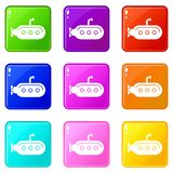 Submarine with periscope icons set 9 color collection. Isolated on white for any design royalty free illustration