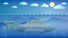 Submarine with the periscope. Submarine with periscope over the water in the ocean royalty free illustration
