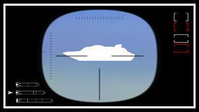 Submarine periscope template 02. Vector illustration. Template for video footage or photo. The viewfinder submarine periscope. Simply remove the ship and place royalty free illustration