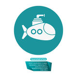 Submarine periscope underwater trasnportation pictogram Royalty Free Stock Photo