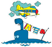 Submarine and plane Royalty Free Stock Photography