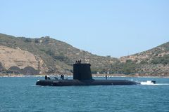 Submarine. In the port of Cartagena Royalty Free Stock Photography