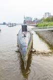 Submarine in port of Hamburg Stock Photo