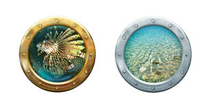 Submarine porthole. Ship windows with seascape. Metal frames border on sea porthole. Nautical underwater concept for your maritime interior Royalty Free Stock Photos