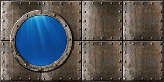 Submarine porthole steam punk metal background royalty free stock photos