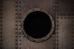 Submarine porthole steam punk metal background Stock Image