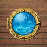 Submarine porthole underwater Royalty Free Stock Photography