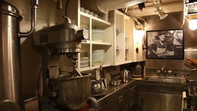 Submarine preparation room. HONOLULU, OAHU, HAWAII, USA - AUGUST 21, 2016: kitchen preparation room with pots and plates of USS Bowfin Submarine SS-287 at Pearl stock video