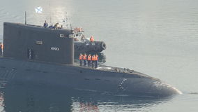 Submarine returns to base stock video footage