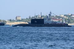 Submarine Rostov-on-Don in the waters of the Sevastopol bay. Submarine Rostov-on-Don in the parade in the bay of Sevastopol stock photos