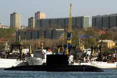 Submarine of the Russian Navy in the roads of Vladivostok Stock Photo