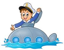 Submarine with sailor theme image 1 Royalty Free Stock Images