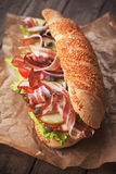 Submarine sandwich with bacon Stock Image