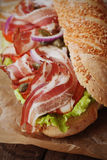 Submarine sandwich with bacon Royalty Free Stock Image