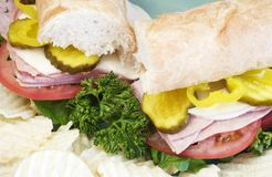 Submarine Sandwich and Chips Royalty Free Stock Image