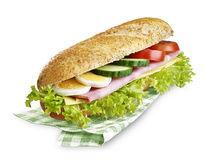 Submarine sandwich ham cheese with clipping path Royalty Free Stock Images