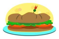Submarine Sandwich on a Plate Stock Photo