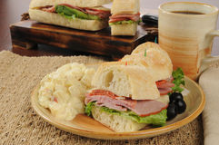 Submarine sandwich with potato salad Royalty Free Stock Image