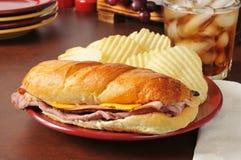 Submarine Sandwich. A sub sandwich with roast beef, turkey, ham and american cheese Stock Photo