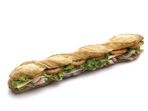 Submarine sandwich on white Royalty Free Stock Image