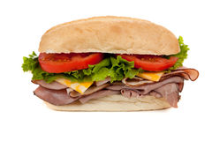 A submarine sandwich on white Royalty Free Stock Photo