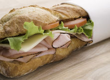 Submarine sandwich on wood Stock Photo