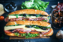 Submarine sandwiches served Royalty Free Stock Image