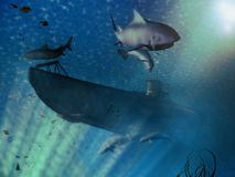 Submarine scene. An U-Boot submarine surrounded by fishes, sharks ans dolphins stock illustration