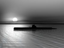 Submarine on the sea. High resolution 3D render of submarine on a background of a sunset on the sea Stock Photo