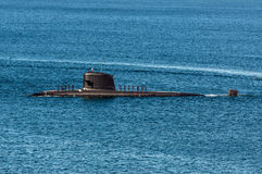 Submarine at the Sea. Submarine arriving at port (Valparaiso, Chile Stock Photography