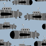 Submarine seamless pattern. Vector background of underwater ship Royalty Free Stock Image