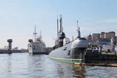 Submarine and ship Royalty Free Stock Images