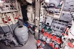 Submarine ship. LABOE, GERMANY - AUGUST 30, 2014: Interior of German submarine U-995 (museum ship) in Laboe. It is the only surviving Type VII submarine in the royalty free stock photo