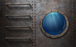 Submarine or ship porthole with underwater view Royalty Free Stock Images