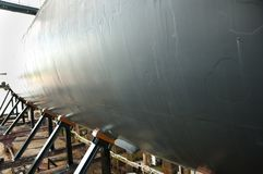 Submarine in Shipyard. Submarine on Supports in Shipyard stock images