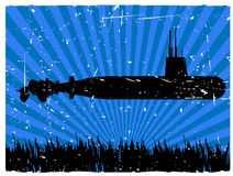 Submarine Silhouette at Bottom of Sea Floor Grunge Royalty Free Stock Photography