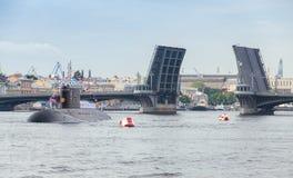 Submarine stand on Neva river Stock Photos