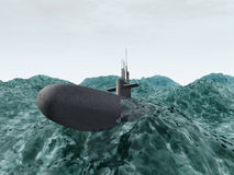 Submarine in the stormy ocean Stock Images