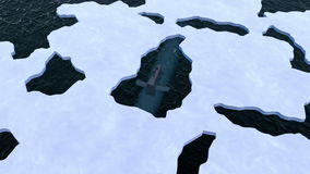 Submarine surfaces through Arctic ice stock footage