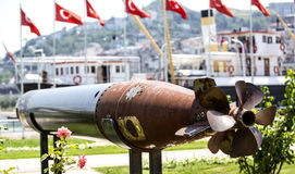 Submarine Torpedo. Rear view of an unused, out of service torpedo served in World War I in the Turkish Army Stock Photography