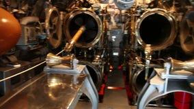 Submarine torpedo room. HONOLULU, OAHU, HAWAII, USA - AUGUST 21, 2016: war room with torpedoes of USS Bowfin Submarine SS-287 at Pearl Harbor. Historic Landmark stock video footage