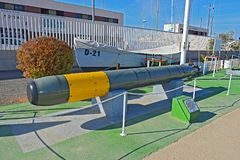A Submarine Torpedo. A torpedo from the Spanish Armada submarine Delphin displayed in Torrevieja Spain Stock Photography