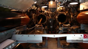 Submarine torpedoes room. HONOLULU, OAHU, HAWAII, USA - AUGUST 21, 2016: front torpedoes of USS Bowfin Submarine SS-287 at Pearl Harbor. Pearl Harbor is a stock video footage