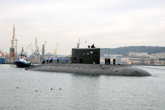 Submarine. Towing with the Shipyard underwater Eagle Navy port in Gdynia royalty free stock image