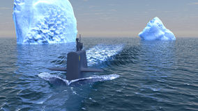 Submarine travelling on the surface of the Arctic ocean Royalty Free Stock Photo