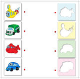 Submarine, truck, airplane and car. Educational game for kids Stock Photo