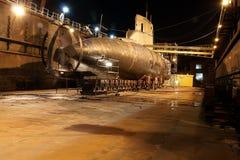 Submarine. Type Kobben standing on the dock Gdansk Repair Shipyard during renovation royalty free stock images