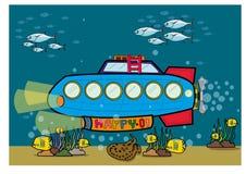 Submarine under water. Cartoon submarine on white background Stock Photography