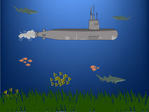 Submarine under water. Submarine depth under water surrounded by fish and sharks, green grass floor Stock Image