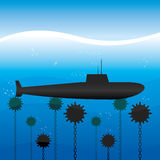 Submarine under water. Royalty Free Stock Images